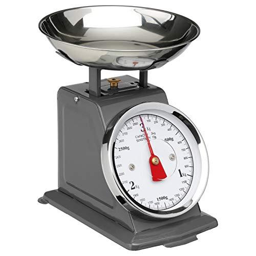 AC-Déco Balance De Cuisine Mécanique – Effet Vintage Avec Bol Amovible – Grise – Jusqu'à 5 kg