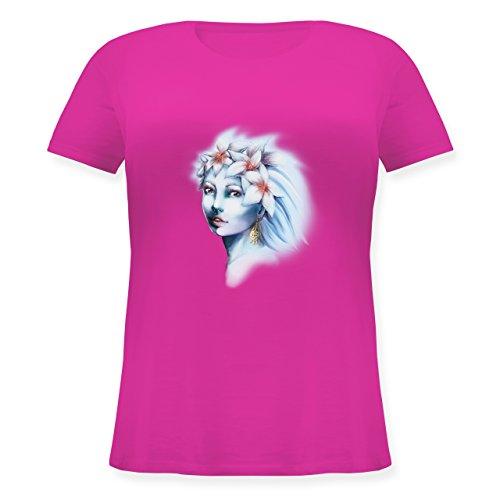 Boheme Look - Blumenmädchen - Lockeres Damen-Shirt in großen Größen mit Rundhalsausschnitt Fuchsia