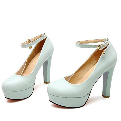 TAOFFEN Femmes Elegant Talons Hauts Escarpins Bloc Sangle De Cheville Soiree Chaussures De Boucle 734 Bleu