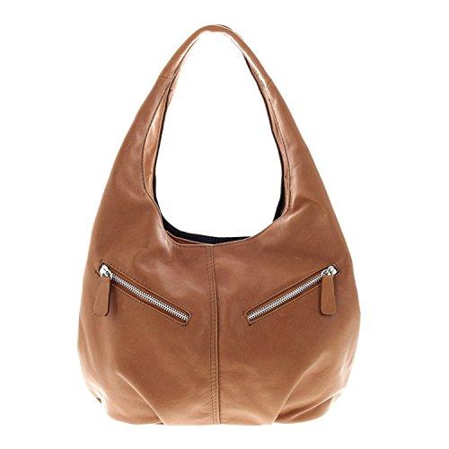IO.IO.MIO Nappa Leder Handtasche Frauen Shopper Henkeltasche Beuteltasche cognac , 30x25x17 cm (B x H x T) (Stoff Cognac Handtaschen)