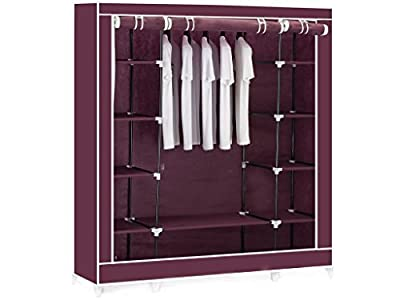 RED / MAROON TRIPLE CANVAS CLOTHES WARDROBE CUPBOARD HANGING RAIL STORAGE WITH 11 SHELVES - 175 x 150 x 45cm ALSO AVAILABLE IN BEIGE AND BLACK. - cheap UK wordrobe store.