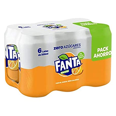 Fanta Zero Naranja Refresco con gas 330 ml Pack de 6 Lata