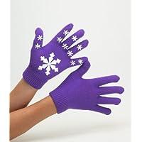 Adultos Magic guantes elástico de goma agarre guantes de equitación, Purple with snowflakes