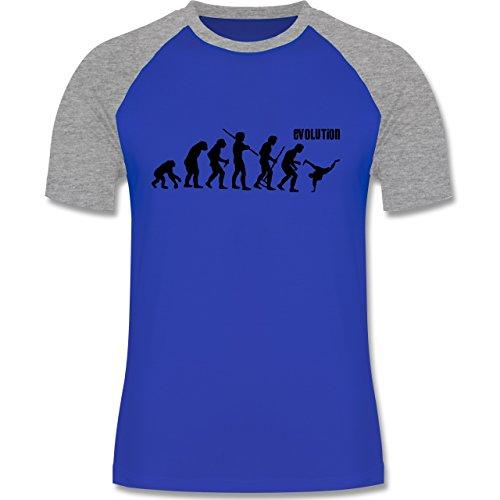 Evolution - Breakdance Evolution - zweifarbiges Baseballshirt für Männer Royalblau/Grau meliert