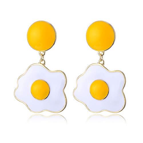 Ei Voll Kostüm - GLJIJID Stilvolle Und Schöne Ohrringe, Süße Ohrringe Aus Omelettlegierung, Exquisite Ohrringe Aus Pochiertem Ei, Gelb