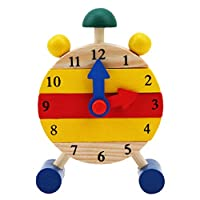 Eleusine Assembly Teaching Time Clock Shape Sorting Number Blocks Early Learning Wooden Educational Toy for Kids