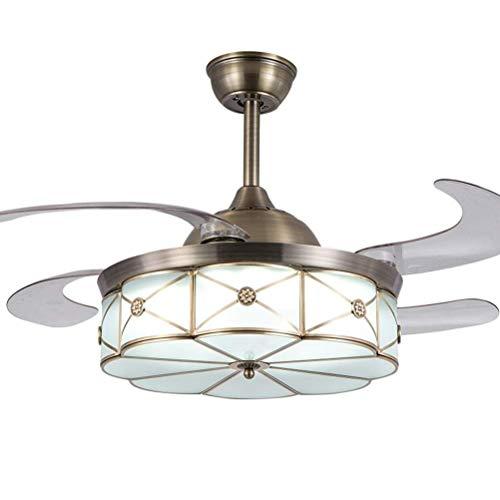 LAZ Deckenventilator Lampe unsichtbaren Lüfter Kronleuchter LED traditionelle Deckenleuchte Öl eingerieben Bronze Finish für Wohnzimmer Schlafzimmer Restaurant Arbeitszimmer (Size : 36inch)
