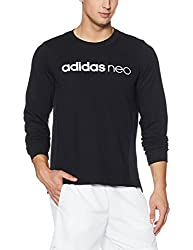 adidas neo Mens Cotton Round Neck Sweatshirt (4058032295563_CD3166_2XL_BLACK)