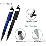 CEUTA® (Set of 2) Universal 3 in 1 Ballpoint Function Stylus Pen with Mobile Stand Holder, Writing Pen,Screen Wipe for All Android Touchscreen Mobile Phones and Tablets (Multi-Color)