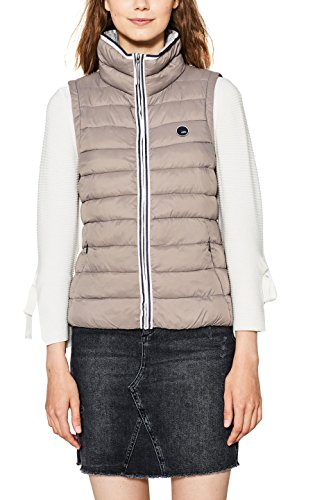 edc by ESPRIT Damen Outdoor Weste 077CC1H002, Braun (Taupe 240), Medium