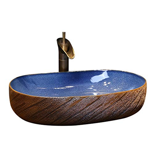 Badezimmer-ovales Waschbecken Retro kreatives Jingdezhen-keramisches Hotel Anti-Splash Waschbecken Waschplätze