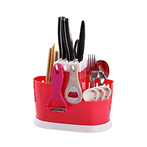Cutlery Holder, outgeek Plastic Space Saving Utensil Drying Rack Kitchen Tool Organizer for Dining Table
