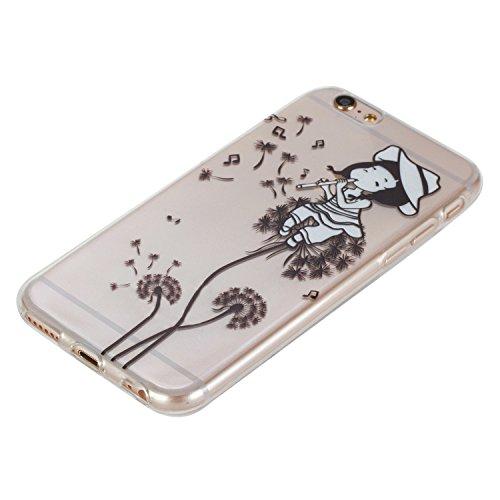 Cuitan Transparent TPU Doux Housse Case pour Apple iPhone 7 (4.7 Inch), Mode Pattern Désign Clear Retour Housse Back Cover Protecteur Etui Coque Case Cover Housse Shell pour iPhone 7 (4.7 Inch) - Flam Dandelion Girl