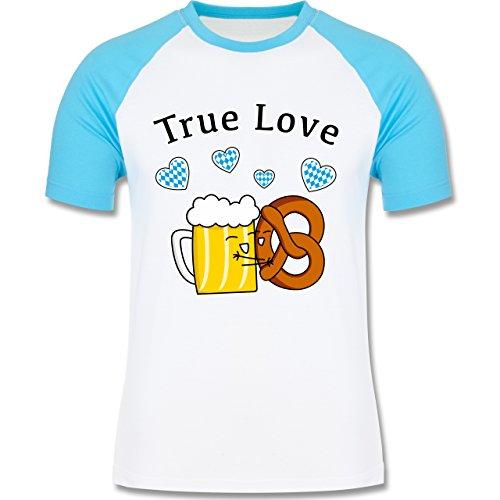 Oktoberfest Herren - True Love- Bier und Breze - zweifarbiges Baseballshirt für Männer Weiß/Türkis