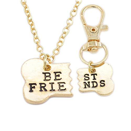 SMILEQ® 2 Stücke Beste Freunde Passende Halskette & Dog Tag Clip Knochen Schlüsselanhänger Freundschaft (2 Pcs, Gold)