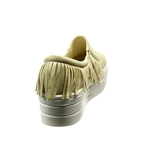 Sneaker Da Donna Di Angkorly - Platform Shoes - Slip-on - Tacco Alto Con Frange Tacco 5 Cm Beige
