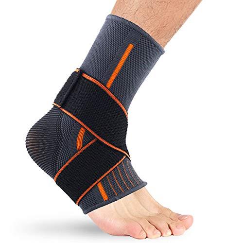 Fußorthesenstabilisator Knöchelbandage Elastische Sportknöchelbandage Bequemes Nylon Schützende Sportknöchelausrüstung-schwarz & grau L -