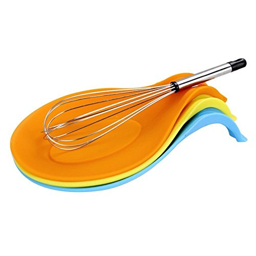 HENGSONG Spoon Rest, Kitchen Silicone Spoon Holders for Kitchen Accessories, Spoons, Spatula, Brushes, Cutlery (Orange)