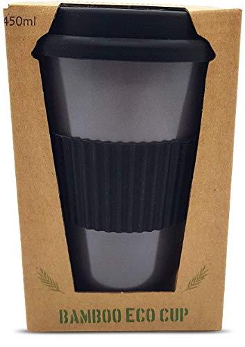 Tasse en bambou biologique réutilisable avec couvercle et manche en silicone 450 ml, écologique et biodégradable, gris nocturne
