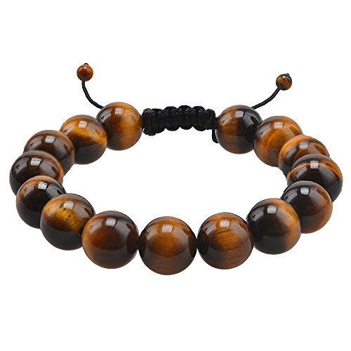 CheersLife 12mm Gelb Tiger Eye Perlen Cool Herren Armband Armreif, runden Tigerauge Energie-Stein Kugeln Tiger Eye Perlen Gebet Mala Stretch Energiearmband, Braun Shamballa inspiriert Verstellbar