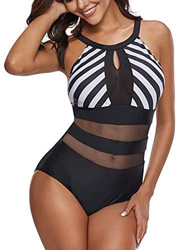g Einteiler Badeanzu Damen Transparenten Einsätze Netz Gaze Bademode Figurformend Monokini Push Up Cups High Neck Bikini (21, L (EU 38-40)) ()
