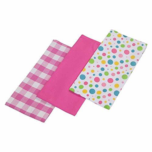 Homescapes - Pur Coton - Torchons Vaisselle - Lot de Trois - À Pois - Multiples Couleurs - Rose Jaune Bleu Vert - 18 x 32 cm - Linge de Cuisine Entièrement Coordonné et Lavable