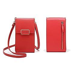 Damen Umhängetaschen Geldbörse Abnehmbar Verstellbar Schultergurt Handyfach Multifunktion Beutel Weiches Leder Beuteltasche unter 6,5 Zoll Rot
