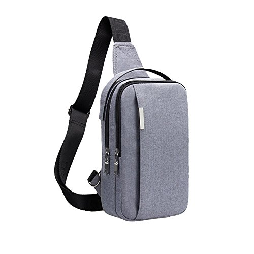 f8b1621c0b01 XINYI Canvas Chest Bag Shoulder Bag with Headphone Hole for Men Gray for Sport  Outdoor Gym