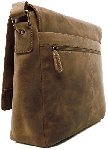 LEABAGS Oxford - Borsa Messenger in vera pelle di bufalo - Look vintage - Noce moscata SugarCane