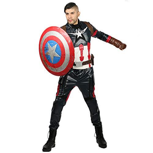 Pandacos Captain America Kostüm Herren Cosplay Costume Deluxe Anzug Set aus Leder für Erwachsene für Halloween, Karneval und ()