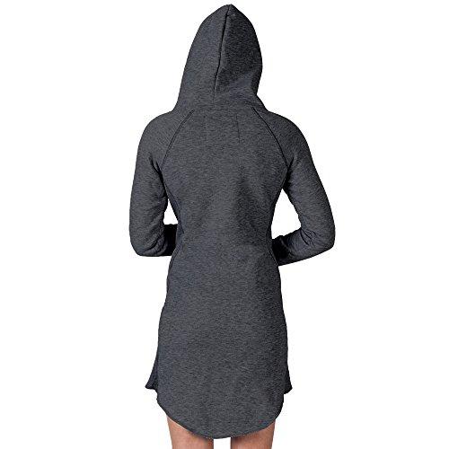 SMILODOX Longpullover Damen | Hoodie für Sport Fitness & Freizeit | Oversize Kapuzenpullover | Pullover - Sportpullover - Sweatshirt - Pulli - Langarmshirt Lang Anthrazit