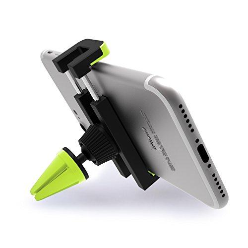 Soporte Movil Coche - iVoler Ventilación Universal 360 grados Rotación Soporte Teléfono Coche para Rejillas del Aire de Coche para iPhone X / 8 / 8 Plus / 7 / 7 Plus / 6(s) / 6(s) Plus / SE / 5s / 5, Samsung Galaxy S8 / S8+ / S7 / S7 Edge / S6 / S5, Huawei, LG, Motorola, Xiaomi, BQ Aquaris, Sony y Android Móviles Dispositivo GPS. - Negro/Verde