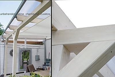 solidBASIC mit VSG GLAS 400 x 250 cm - Terrassenüberdachung Leimholz + Glasdach Verbundsicherheitsglas - Unbehandelt / NATUR - ÜBERDACHUNG TERRASSENDACH HOLZ VORDACH CARPORT TERRASSE WINTERGARTEN LEIMBINDER GARTENLAUBE PAVILLON 4 x 2,5 m von solidus24 -