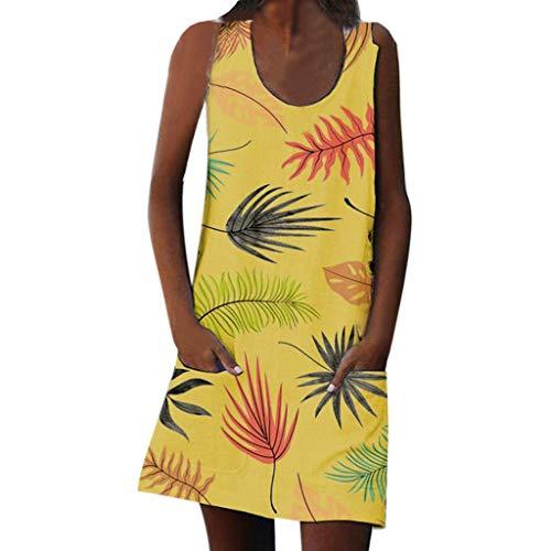LOPILY Blusenkleider Damen Böhmischen Strand Blumendruck Sommerkleider Casual Langes Shirt Beiläufig Floral Print Pocket Strandkleid Vintage Kleider mit Taschen(Gelb,EU-42/CN-XL)