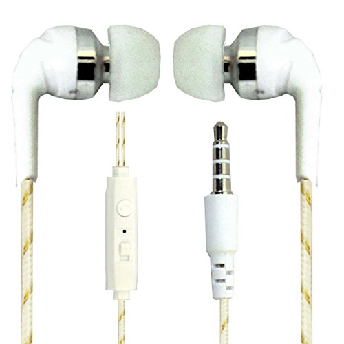 Hello Zone Exclusive Designer Series Stereo Headset Handsfree Headphone Earphone with Mic 3.5 MM Jack Spice Mi-436 Stellar Glamour -White with Gold Design  available at amazon for Rs.198