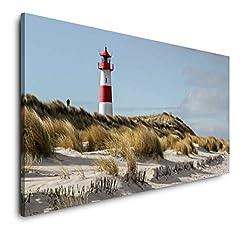 Paul Sinus Art Leuchtturm am Meer 120x 60cm Panorama Leinwand Bild XXL Format Wandbilder Wohnzimmer Wohnung Deko Kunstdrucke