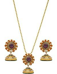 JFL -Traditional Fusion Ethnic One Gram Gold Plated Pearl Green Stone Meenakari Designer Pendant Set For Women...