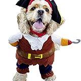 L-Peach Disfraz de Pirata Ropa Traje Uniforme para Mascotas Animal Doméstico Gato Perro con Dos Patas y Gorro para Halloween Navidad S