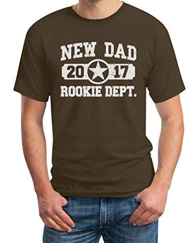 New Dad 2017 Rookie Dept/Anfänger- Neuer Papa T-Shirt Braun