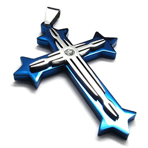 bishilin-stainless-steel-blue-silver-cross-unisexs-pendant-necklaces-with-chain-18-inch-for-mens-wit