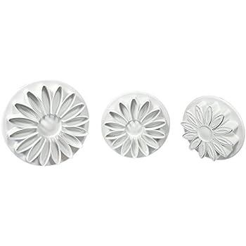 PME SD618 Prägeausstecher mit geäderter Sonnenblume/Margerite/Gerbera, Kunststoff, Weiß, 5 x 5 x 5 cm, 1 Einheiten