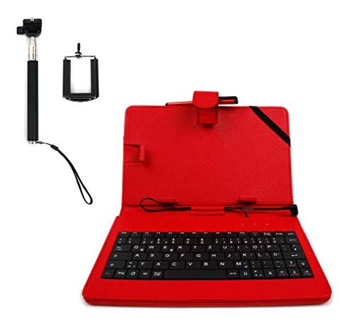 DURAGADGET 10 Zoll rote Kunstlederhülle Deutsche QWERTZ Tastatur Mikro USB Standfunktion geeignet für Tablet-PCs mit OTG Funktion (On-The-Go, Host-Funktion) & Selfie Stange