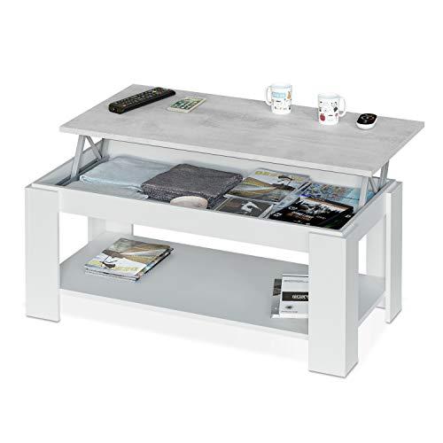 Habitdesign 0L1639A - Mesa de Centro con revistero Incorporado, mesita Comedor, Medidas: 102 x 50 x 43/54 cm (Blanco Artik - Cemento)