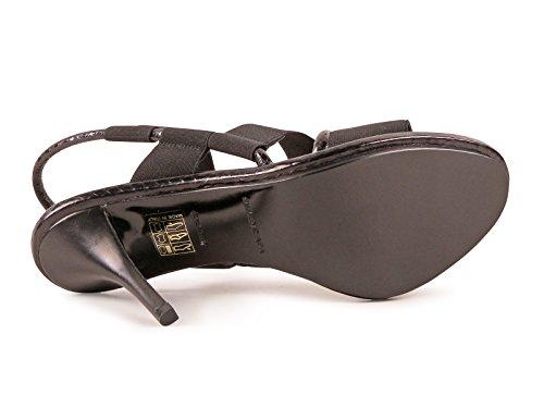Sandales à talons hauts Balenciaga en cuir et tissu noir - Code modèle: 349315 W0WJ1 1000 Noir