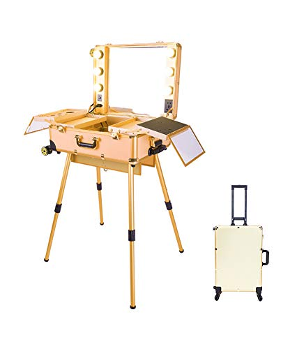 Make-up Train Case, LED Lighted Rolling Travel Portable Kosmetik-Organizer-Box mit Spiegel & 4 detachable Wheels, Professional Artist Trolley Studio Free Standing Workstation, Gold