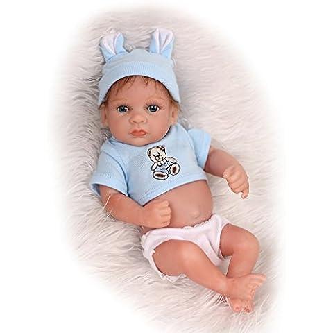 NPKDOLL Reborn Bambino Bambola disco di simulazione del silicone vinile 10 pollici 26 centimetri impermeabile bagno giocattolo del bambino sveglio attuale Blue Eyes Ragazzo mohair con acrilico Occhi A1IT - Disco Eye