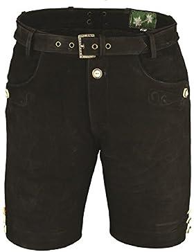 Lederhose mit Gürtel, echt Leder Nubuk Trachten Lederhose Herren kurz, Damen Trachtenlederhose Schwarz mit Gürtel
