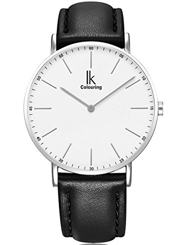Alienwork IK Herren Damen Armbanduhr Quarz Silber mit Lederarmband schwarz Ultra-flach Slim-Uhr