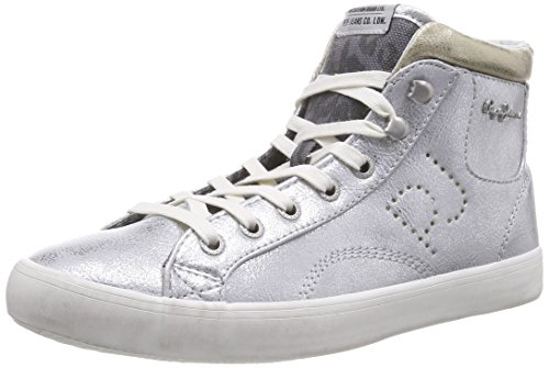 Pepe Jeans CLINTON ANIMAL METALLIC, Sneaker alta donna, Argento (Silber (934SILVER)), 36