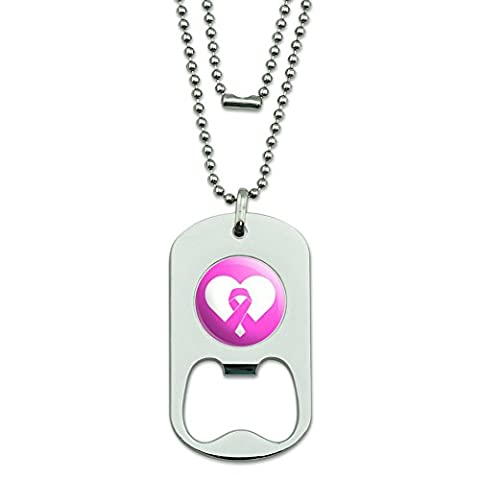 Breast Cancer Awareness Pink Ribbon in Heart Military Dog Tag Bottle Opener Pendant